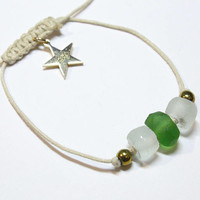 Green and white handmade recycled glass bead bracelet with hematite