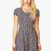 Fit & Flare Rose Print Dress