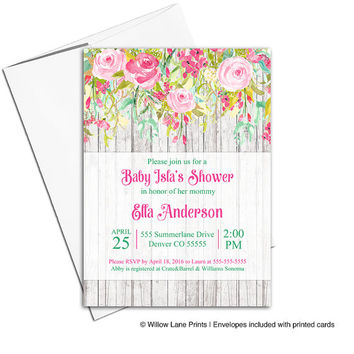 Baby Girl Shower Invitation Printable | Spring Summer Baby Shower Invites | Flower Floral Baby Shower Invitation Rustic Outdoor - WLP00770