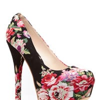 Black Floral Print Platform Pumps