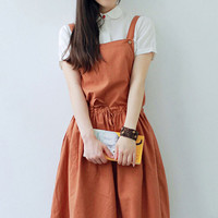 Orange Drawstring Waist Overall Midi Dress