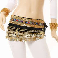Black Indian Dance Belly Costume Sequined Hip Waist Chain