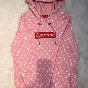 Supreme LV Fashion Embroidered tea green hooded sweater
