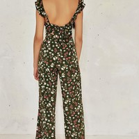 FIELD DAY FLORAL TIE BACK JUMPSUIT