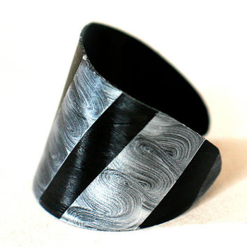 Recycled record Bracelet  Statement cuff handcut unique painted vinyl plastic black silver