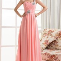 Sweet Pink One shoulder crystal bead chiffon dress from WeiweiK