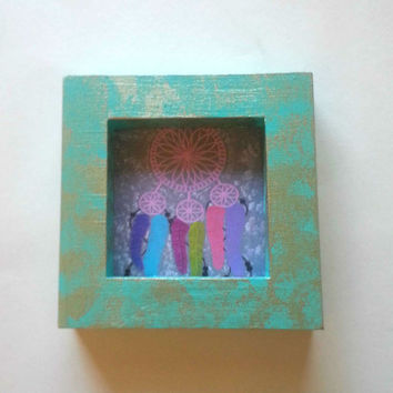 "Aqua and Gold splatter 3.5"" x 3.5"" picture frame for home decor"