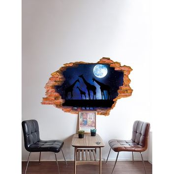 Giraffe Space Broken Wall Decal