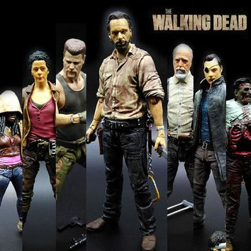 NEW hot ! 15cm The walking dead 5 zombies Rick Daryl action figure toys Christmas doll toy Christmas gift