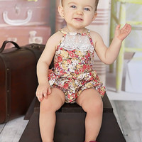 Country Girl Vintage Lace Bubble Romper Brown Floral - Infant & Baby Sizes!
