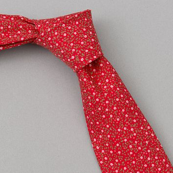 Micro Calico Print Tie, Red