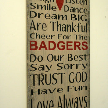 Family Rules Sign Badgers Personalized Sign Sports Team Sign Distressed Wood Sign Primitive Wood Home Decor Shabby Chic Decor