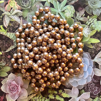"1920s style 90"" LONG Pearls taupe light pale brown Pearl Necklace 20's Downton Abbey Wrap Flapper Accessories"