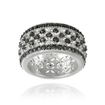 Rhodium Plated 1/4ct Black Diamond Filigree Band Ring Size 8