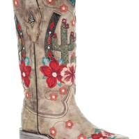 Corral Taupe Cactus Overlay & Flower Embroidered Boots
