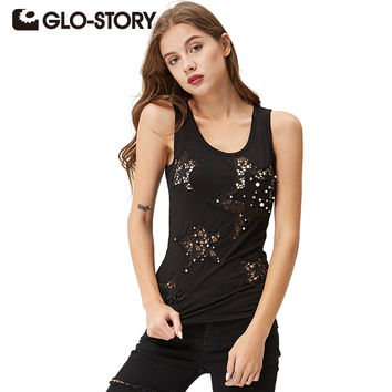 GLO-STORY 2017 Graphic Summer women's Tank tops Star hollow hollow beaded multi-color fashion vest tank top WPO-3323