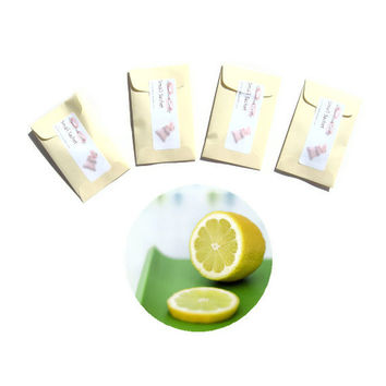 4 Joyful Haven Scented Sachets - Pastel Wedding - DIY Shower Favors - Clean Lemon Linen Fragrance - Yellow Green