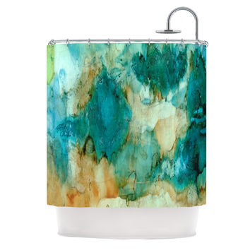 "Rosie Brown ""Waterfall"" Teal Blue Shower Curtain"