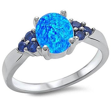 Lab Created Blue Opal amp Blue Sapphire 925 Sterling Silver Ring Sizes 412 5
