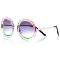 River Island Womens Pink ombre round sunglasses