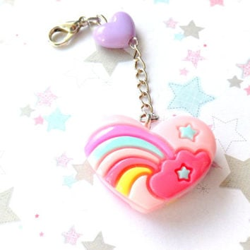 Kawaii Rainbow Heart zipper pull, Cute Purse Charm, Pink Heart, Backpack Charm, Fairy Kei, Pop Kei, Rainbow Charm, Bag charm, Heart Bead