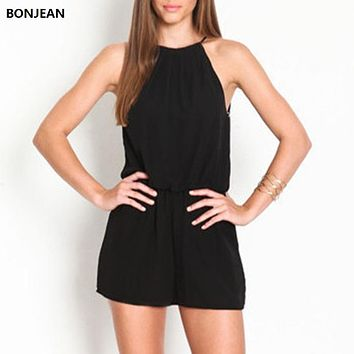 BONJEAN 2017 Rompers Women's Clothing Overalls Sexy Summer Brand Casual Black Sleeveless Halter Keyhole Back Jumpsuit S-24