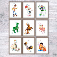 Toy story watercolor poster Set of 9 Toy story art print Wall hanging art decor Home decoration Kids room wall art Nursery room decor V307