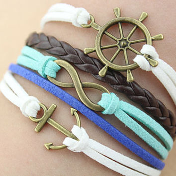 infinity bracelet--anchor&rudder bracelet,antique bronze charm bracelet,brown braid leather bracelet,white,teal cord,MORE COLORS