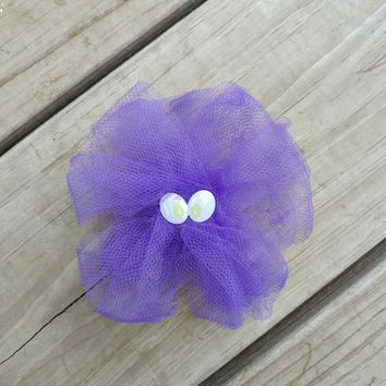 Purple Tulle Monster Hair Bow