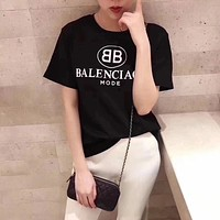 """Balenciaga"" Women Casual Fashion Letter Logo Print Short Sleeve T-shirt Top Tee"