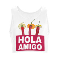 Hola Amigo Three Red Chili Peppers Friend Funny Women's Crop Top (Model T42) | ID: D1920266