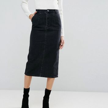 ASOS Denim Midi Skirt in Washed Black at asos.com