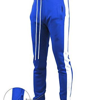 SCREENSHOTBRAND-S41700 Mens Hip Hop Premium Slim Fit Track Pants - Athletic Jogger Bottom with Side Taping-Midnight-Medium