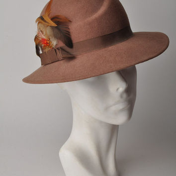 Vintage 60s Brown Feather Detail Rounded Panama Hat, By Doeskin, Size Small