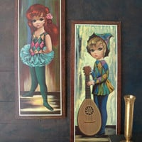 1960s Eden Big Eyes Vertical Harlequin Girls - Excellent condition