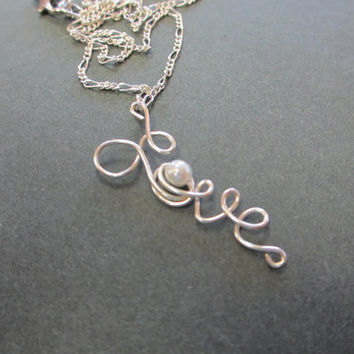 Love Necklace Pearl Silver Jewelry Wedding Bridesmaid Gifts