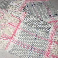 Recycled Plastic Bags (6) Pink hand woven mug rug coasters eco friendly