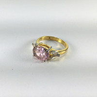Pink Cubic Zirconic Statement Ring, Promise Ring, Engagement Ring, Prom Jewelry, Homecoming Jewelry, Teen Gift, Costume Jewelry, Regency