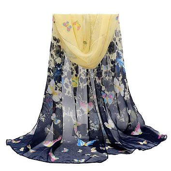 chiffon scarf print abstract women's scarf silk lady spring summer patterns cape polyester shawl wrap feminino 2017