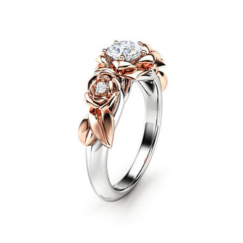 Moissanite Engagement Ring White Gold Ring Rose Engagement Ring Moissanite Gold Ring