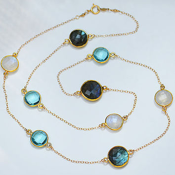 Faceted Labradorite  Blue Topaz Moonstone Gold bezel long station necklace - natural grey white blue multi color gemstone Lollipop