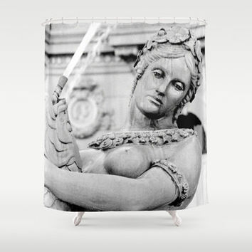 Parisian Fountain Statue Shower Curtain, Original Fine Art Photography - Bathroom Decor, Goddess, Gray, angel, romance, Paris, Woman, Europe