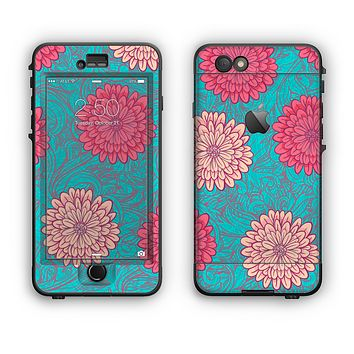 The Pink & Blue Floral Illustration Apple iPhone 6 LifeProof Nuud Case Skin Set