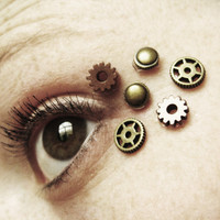 Eye Decals Womens Steampunk Clothing - Steampunk Accessories - Steampunk Mask - Clock Part Stempunk Gears 6pcs