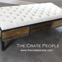 3 Crate Drawer Tufted Ottoman OR Coffee Table | Vintage Wood Crates | Custom Furniture