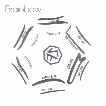 Brainbow 6 Style in 1 Cosmetics Eyeshadow Cat Smokey Eye Stencils Eyebrow Stencil Shadow Models Template Urban Face Makeup Tools