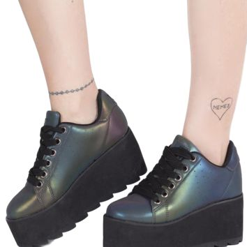 YRU Lala Reflective Platform Rave Shoes