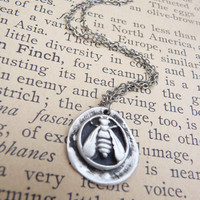 Bee wax seal pendant, custom made to order in fine silver