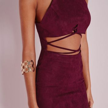 Missguided - Faux Suede Cross Front Midi Dress Burgundy