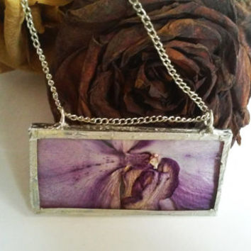 Natural flower purple orchid glass necklace